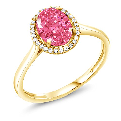 10K Yellow Gold Right-Hand Ring Set with Fancy Pink Zirconia from Swarovski (Size 9) (Diamond Fancy Pink Ring)