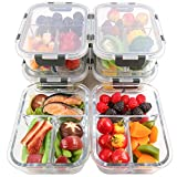 [6-Packs] Glass Meal Prep Containers 3 Compartment with Lids, Glass Lunch Containers,Food Storage
