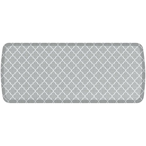 GelPro Elite Premier Anti-Fatigue Kitchen Comfort Floor Mat, 20x48'', Lattice Light Grey Stain Resistant Surface with therapeutic gel and energy-return foam for health & wellness