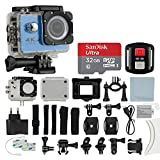 4K HD DV 16MP Sports Action Camera, (Blue) - Wi-Fi + Wrist RF + 170° Wide Angle Lens + Waterproof Case & Backdoor + SanDisk 32GB Memory Card + Bike Mount + Clip Holder + Ultimate Accessory Bundle