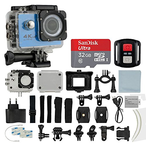 4K HD DV 16MP Sports Action Camera, (Blue) - Wi-Fi + Wrist RF + 170° Wide Angle Lens + Waterproof Case & Backdoor + SanDisk 32GB Memory Card + Bike Mount + Clip Holder + Ultimate Accessory Bundle Photo4Less