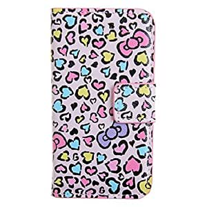 SHOUJIKE Exquisite Love Heart & Bowknot Painting PU Leather Full Body Case for iPhone 4/4S