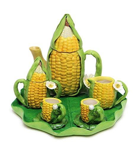(Hands & Hearts Unique Design Porcelain Miniature Tea Set -CornTea Set- for Home, Fairy Garden, Mini Garden, and Dollhouse Decoration, Collectible Item.)