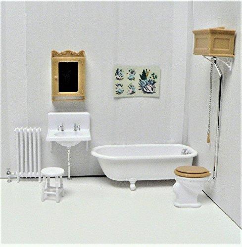 Dollhouse Miniature 1:12 Scale Bathroom Kit, White