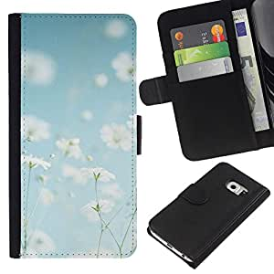 All Phone Most Case / Oferta Especial Cáscara Funda de cuero Monedero Cubierta de proteccion Caso / Wallet Case for Samsung Galaxy S6 EDGE // Summer Field Flowers White Happy Warm