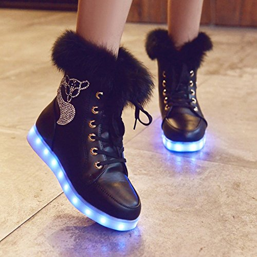 Xianv Mode Led Schoenen Lichtgevende Schoenen Led-verlichting Kleurrijke Schoenen Hoge Casual Schoenen Konijnen Haar Snowboots Zwart
