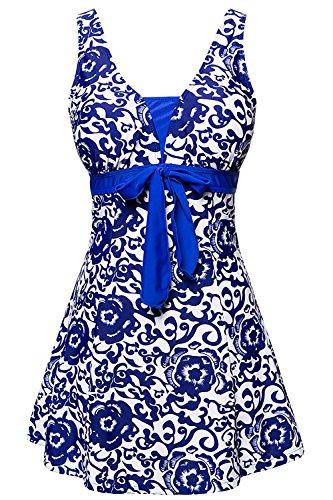 ALICECOCO Signore Retro Polka Nuoto Costume Plus Size One Piece Swimwear con Boyshort fondo Tesoro Blu