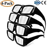 Habibee 4-Pack Plastic Solar Eclipse Glasses Goggles Spectacles, Shade 14 CE and ISO Certified, Adult Size Mirror Lens Eyes Protection Cool Look Sun filter solar Safe Viewer Viewing ABS Black - 4 Pack