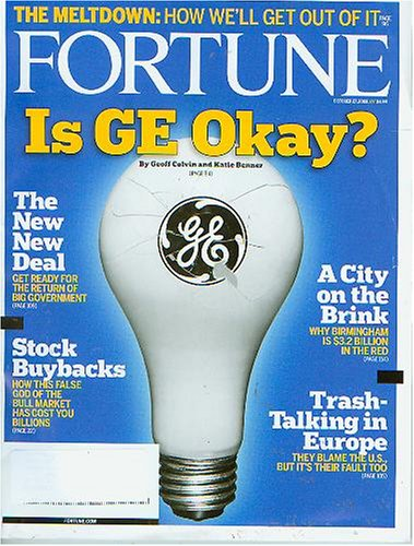 Fortune Magazine October 27 2008 Is GE Okay? ((The Meltdown:How we'll get out of it; The New New Deal; Stock Buybacks; A City on the Brink; Trash-Talking In Europe)) PDF
