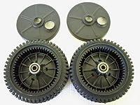 Set of 2, Original FSP Lawn Mower Wheel Kit 193144, Includes 2 Dust Covers # 189403. Has Metal Bushings, Not Plastic.