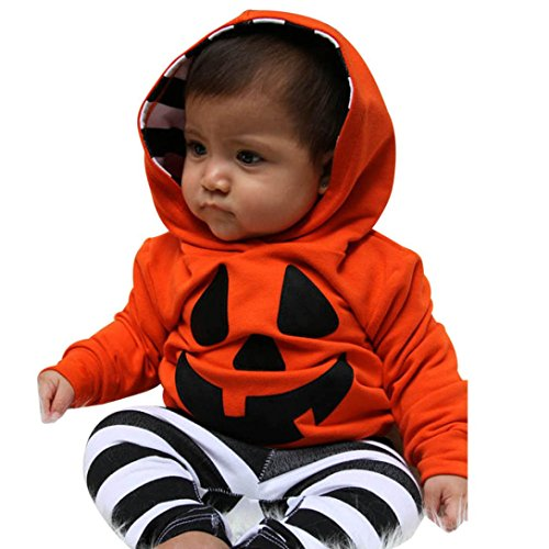Clearance! Napoo Infant Baby Boy Girls Halloween Pumpkin Hooded Blouse +Stripe Pants Outfits Set (12M, Orange)