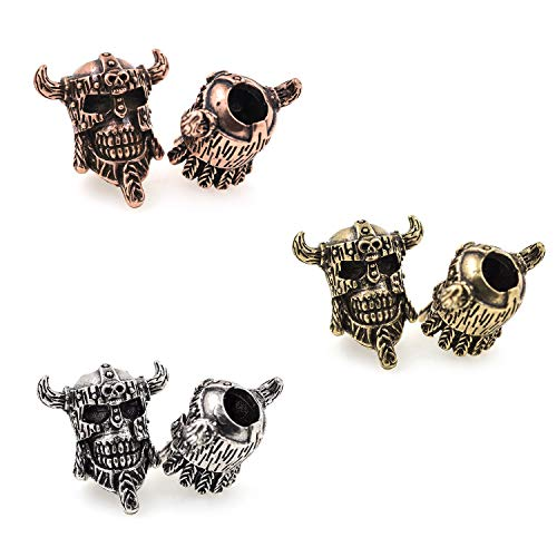 (Antique Viking Pirate Skull Bead fit for Paracord Bracelet Keychain Charms Making (6Pcs,MixColor))
