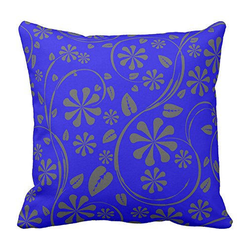 Flower Leaf Printed Bright Blue and Gray Floral Pattern Home Decor Design Throw Pillow Case For Sofa