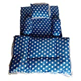 Navrit Collection Cotton Baby Mattress with Quilt from Newborns till 1.5 years (Polka Blue)