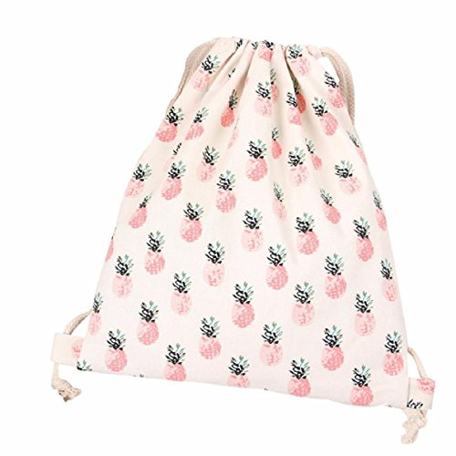 Lookatool Women Pineapple Drawstring Beam Port Backpack Shopping Bag Travel Bag