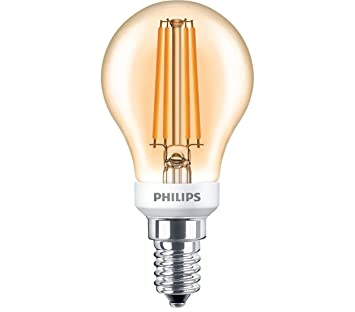 Philips Bombilla LED Gota filamento 5 W E14 827 2700 Kelvin A60 Oro transparente blanco cálido