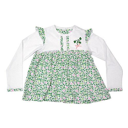 Traditional Craft White Shamrock Kids Long Sleeve Baby Dress (0-6 Months)