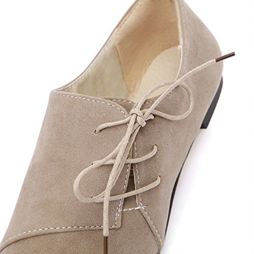 Aisun Womens Stylish Casual Round Toe Tie Up Lace Up Flats Pumps Shoes Beige 82EMt1GMPj