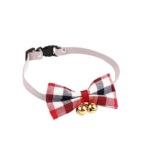 c1559a0b4a55 Collar de Ajustable para Gato Perros pequeños Cascabel Forma Lazo Tela  Escocesa roja 26