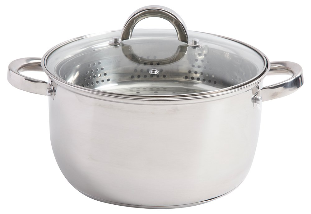 Oster 111922.03 Sangerfield 6 Qt Dutch Oven Casserole with Steamer Basket, Stainless Steel