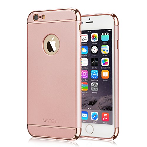 iPhone 6S Case, Vansin 3 In 1 Ultra Thin and Slim Hard Case Coated Non Slip Matte Surface with Electroplate Frame for Apple iPhone 6 (4.7)(2014) and iPhone 6S (4.7)(2015) -- Rose Gold