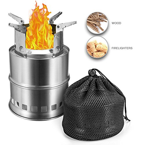 Camping Guru Camping Wood Burning Stove - Collapsible Stainless Steel, Effortless Cleanable, Lightweight and Portable, Easy Fire Starter Outdoor Equipment for Backpacking & Hiking with Storage Bag
