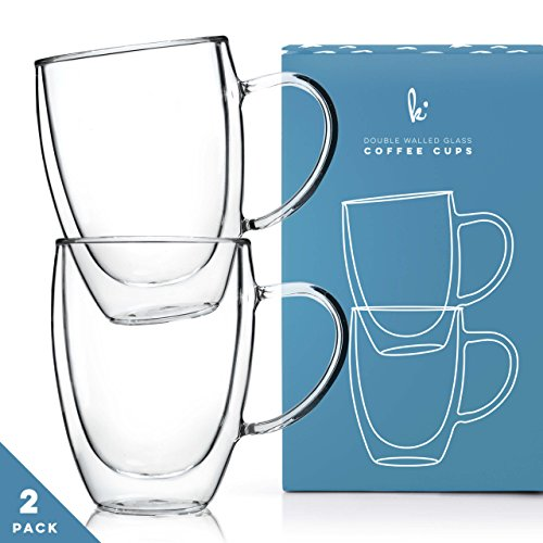 Glass Coffee Mugs Drinking Glasses Set of 2 with Handle, 12oz Double Walled Thermo Insulated Cups for Tea Latte Cappuccino (2 Coffee Cups Mug)
