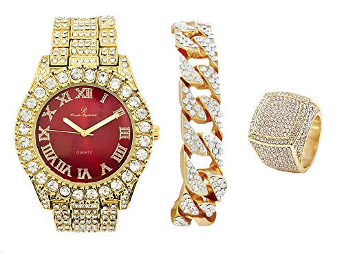Mens Gold Big Rocks Bezel Blood Red Dial with Roman Numerals Fully Iced Out Watch w/Cuban Chain Bracelet & Ring Size 11 - Blood Red/Gold - ST10327CRG(11) from Charles Raymond