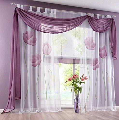 Uphome 1-Pair Elegance Home Decor Lotus Printing Floral Voil