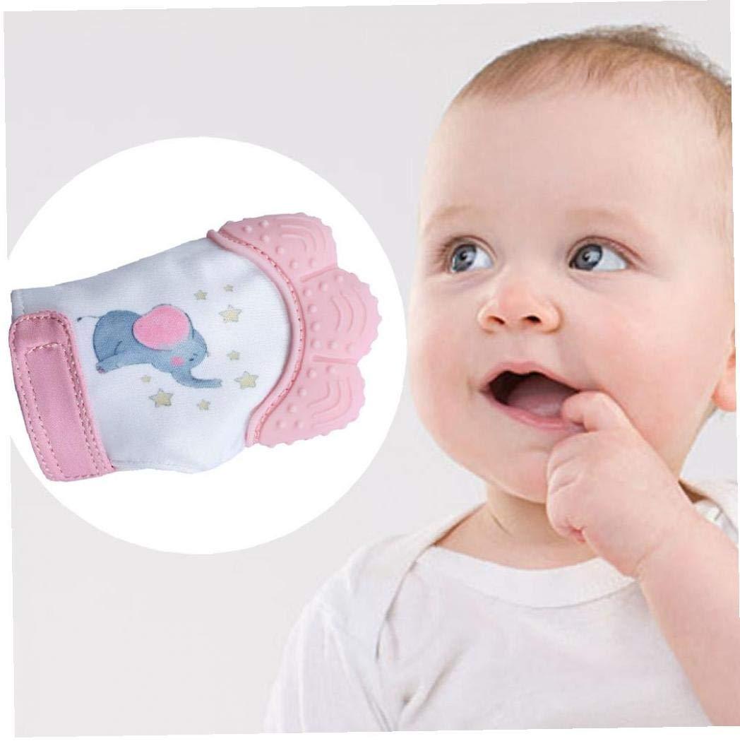 Art/ículos para beb/és Baby Sensory Estimulaci/ón dentici/ón manopla Silicona de Calidad Alimenticia Teether Juguetes protecci/ón del rasgu/ño Guante con correa ajustable Rosa