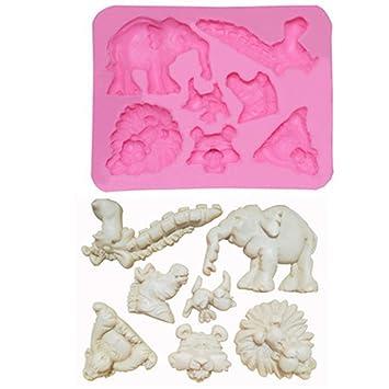 BHPSU - Molde de silicona líquida para decoración de tartas, diseño de elefante y león: Amazon.es: Hogar