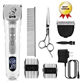 GHB Dog Clippers Pet Grooming Clippers Cordless 5-Speed LED Display with Replaceable Ceramic Blade Rechargeable