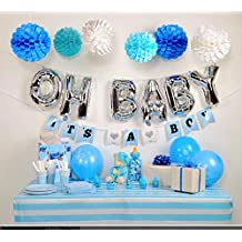 Baby Shower Decorations kit for Boy, OH BABY It's a Boy Banners, Blue White and Silver Baby Shower Decorations, Paper balls, It's a Boy latex balloons, Unique Baby shower decorations for your party