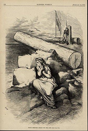 (Lady Columbia Dove Skeleton Soldier War Flag 1875 Nast interesting antique print)