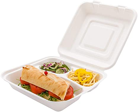 """Amazon.com: Bagasse Take Out Container, Bagasse To Go Box, Clamshell -  Durable All Natural, Biodegradable, Disposable Material - 3 Compartments -  25 oz - 10"""" - 100ct Box - Restaurantware: Kitchen & Dining"""