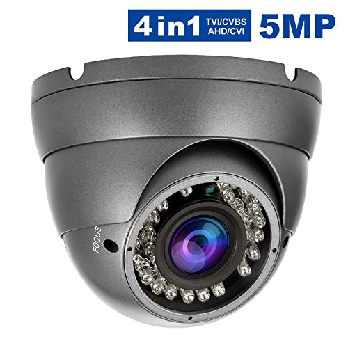 5MP 4MP TVI HD Dome Security Camera, Anpvees 4-in-1 AHD CVI TVI CVBS Security Cameras, 2.8-12mm Varifocal Lens Waterproof Outdoor Surveillance Camera