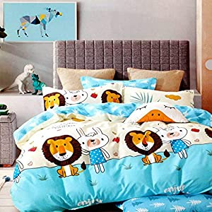 SinghsVillas Decor Super Heavy Glace Cotton Cartoon Lion Print 260 TC Double Bed Bedsheet for Kids Room with 2 Pillow…