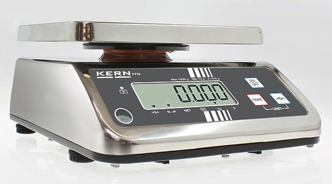 Robusta, ahorrar espacio mesa Báscula con escaneado aprobación [M] [Kern FFN 15 K5IPM] protegido por Acero Inoxidable y IP65, rango de pesaje [Max]: 15 kg, ...