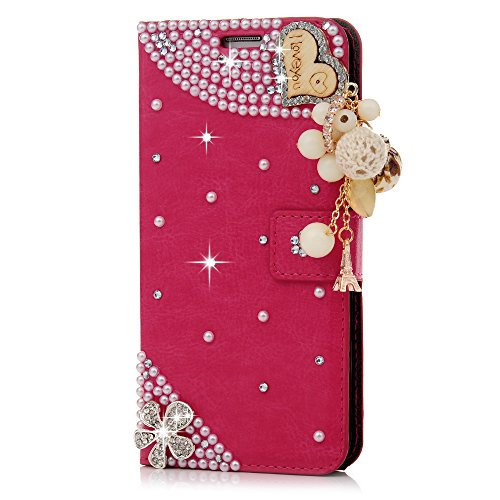 Galaxy S7 Edge Case - Maviss Diary 3D Handmade Cute Wallet Bling Crystal PU Leather Flip Cover Shiny Glitter Diamonds Wooden Love Heart with Tower Tassel Pendant for Samsung Galaxy S7 Edge (Hot Pink)