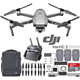 DJI Mavic 2 Zoom Drone Fly More Kit with 24-48mm Optical Zoom Camera CMOS Sensor and 2X Flight Batteries, Car Charger, Battery Hub, Power Bank Adapter, Propellers, Bag & Memory Card Bundle