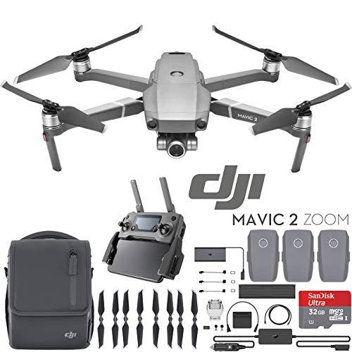 DJI Mavic 2 Zoom Drone Fly More Kit with 24-48mm Optical Zoom Camera CMOS Sensor and 2X Flight Batteries, Car Charger, Battery Hub, Power Bank Adapter, Propellers, Bag & Memory Card Bundle