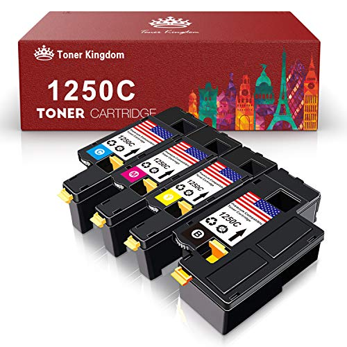 Toner Kingdom 1250C C1760NW 810WH C5GC3 WM2JC XMX5D Compatible Toner Cartridge for Dell 1250C C1760NW C1765nfw 1350cnw Color Laser Printer (BCMY, 4 Pack)