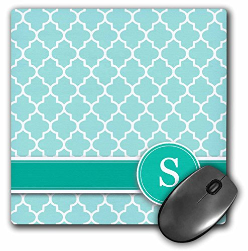 - 3dRose 8 x 8 x 0.25 Inches Personalized Letter S Aqua Blue Quatrefoil Pattern Teal Turquoise Mint Monogrammed Personal Initial Mouse Pad (mp_154559_1)