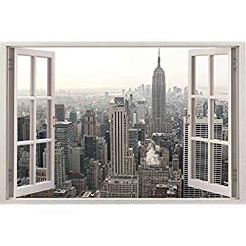 Removable Wall Decals   Huge Vinyl Mural   3D Window View Stickers   Large  Urban Poster Part 62