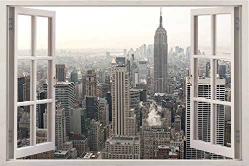 3D Depth Illusion Vinyl Wall Decal Sticker, Window Frame Style Home Décor Art Removable Wall Sticker, 85 X 115 CM (New York City Urban CityScape View)