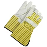 Bob Dale 40-1-1511-5 Premium Grain Leather Fitter Glove with 5 Rubberized Safety Cuff, Size 1, Yellow