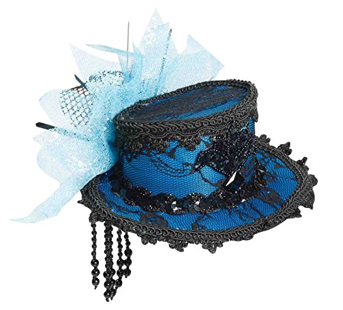 Forum Novelties Women's Mini Lace Hat Hair Clips-Blue Party Supplies, Standard -