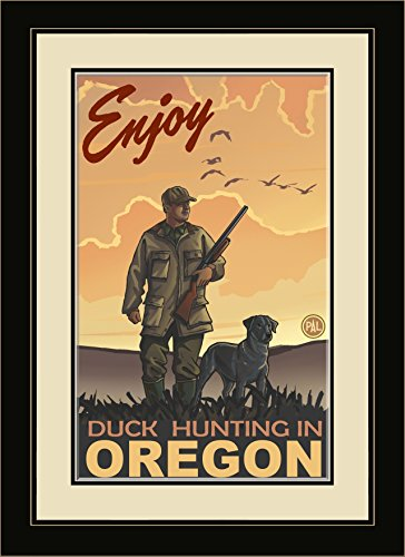 Northwest Art Mall PAL-0009 MFGDM DKH Enjoy Duck Hunting in Oregon Framed Wall Art by Artist Paul A.Lanquist, 13 by 16-Inch