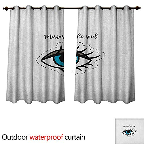 Anshesix Eyelash Outdoor Curtain for Patio Blue Woman Eye Stitch Patch Style Graphic Design Famous Inspirational Quote W63 x L72(160cm x 183cm)
