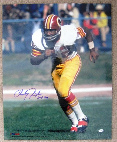 (Charley Taylor Autographed 16x20 Color Action Photograph - Washington Redskins Hall of Fame Inscription)